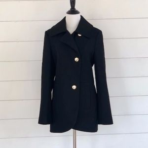NWOT French Connection Black Wool Pea Coat